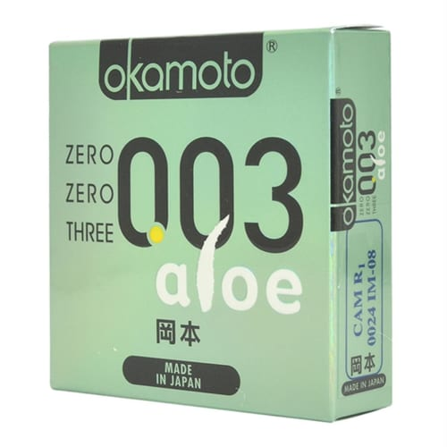 Bao Cao Su 0.03 Aloe Okamoto Hộp 3 Chiếc