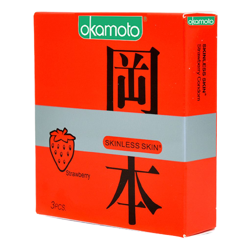 Bao Cao Su Strawberry Okamoto Siêu Mỏng Hương Dâu Hộp 3 Chiếc Removebg Preview