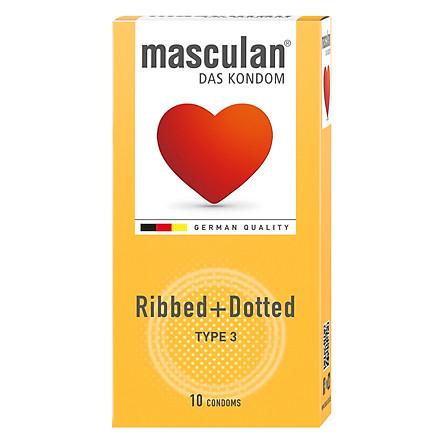 bao cao su masculan ribbed dotted